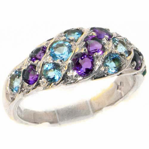 Luxury Ladies Solid Sterling Silver Natural Amethyst & Blue Topaz Band Ring - Size V 1/2 - Finger Sizes K to Z Available - Perfect gift for Anniversary, Engagement, Wedding, First Child