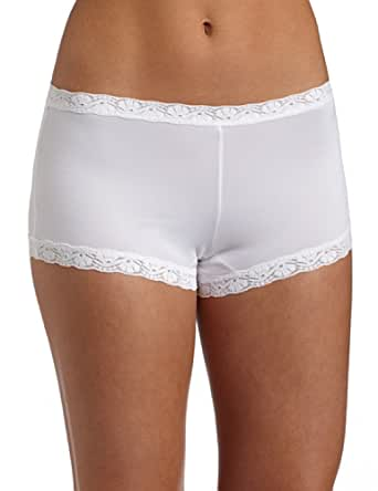 Maidenform Women's Microfiber with Lace Boyshort Panty, White, 5