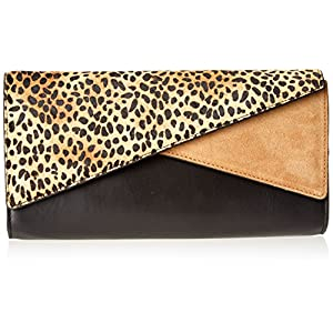 Vince Camuto Naomi Haircalf Clutch,Black/Leopard Combo,One Size