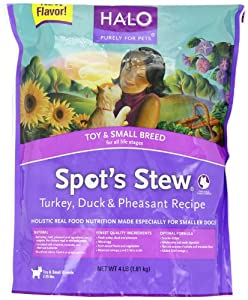 Halo Spot's Stew Dry Recipe for Small Breed Dogs, Turkey, Duck and Pheasant, 4-Pound by Halo, Purely for Pets