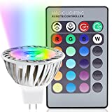 3-in-1 RGB Multi Color MR16 LED Spotlight Kit 38 Degree Beam Angle Color Changing MR16 Light Bulb GU5.3 Base w/ 24-Key IR Remote and Memory Function, Clear Lens for Accent, Decorative Lighting
