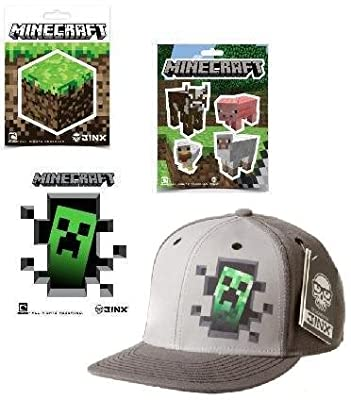 Minecraft Creeper Inside Premium Snap Back Hat 9 Stickers Gift Set by MOJANG