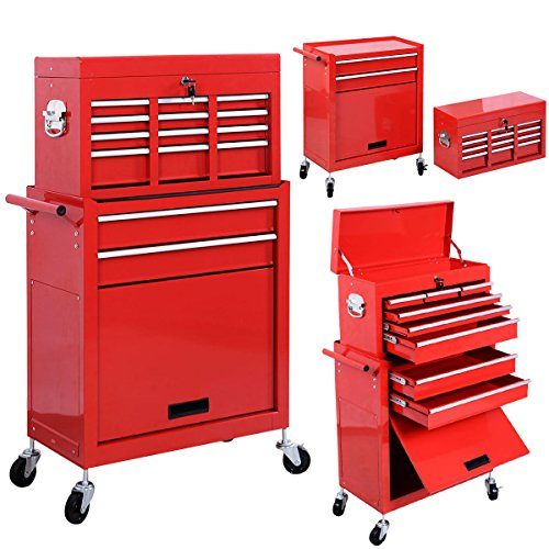 Eight24hours Removable Top Chest Box Rolling Tool Storage Cabinet Sliding Drawers New - A3 (Kennedy Tool Box Key compare prices)