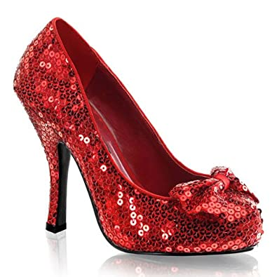 High-Heels-High-Heels-Pumps: Pailletten-Pumps rot