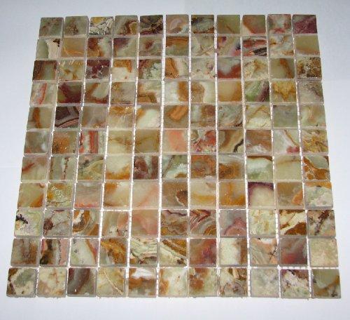 "Multi GREEN Onyx 1x1 Polished Mosaics Meshed on 12"" X 12"" Tile for Backsplash, Shower Walls, Bathroom Floors - FREE SHIPPING"