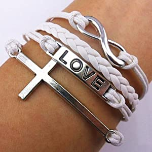 Fashion Infinite Bracelet Cross Bangle White Leather Knit Rope Love Punk Charms