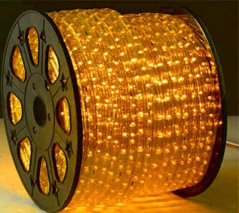Yellow 12 Volts Dc Led Rope Lights Auto Lighting 8 Meters(26.2 Feet)