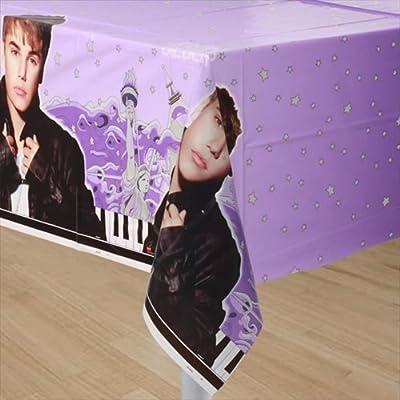 "Justin Bieber Plastic Tablecloth, 84"" x 54"""