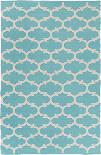 Teal Rug Modern Chic Design 2-Foot x 3-Foot Cotton Flat-Woven Trellis Dhurry
