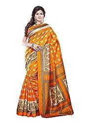 Bansy Fashion Orange Coloured Art Silk Printed Saree/Sari