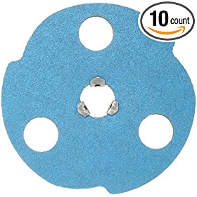 "Norton BlueFire F826P AVOS Edger Speed-Lok Abrasive Disc, Fiber Backing, Zirconia Alumina, 5"" Diameter, Grit 50 (Box of 10)"