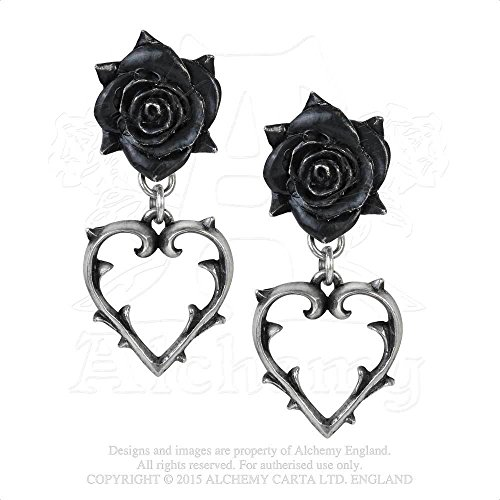 Wounded Love Black Rose Heart of Thorns Pair of Earrings by Alchemy Gothic