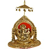 INTERNATIONAL GIFT Gold Plated Ganesh With Chattar God Idols Exclusive Gifts For Diwali, New Year, House Warming, Wedding, Anniversary