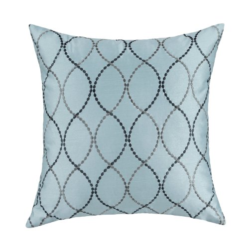 "Euphoria Contempo Decorative Throw Pillow Cushion Covers Pillowcase Shell Faux Silk Light Blue Waves Embroidery 18"" X 18"" front-436387"