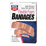 Rite Aid Bandages, Flexible Foam, Assorted Sizes, 45 ea