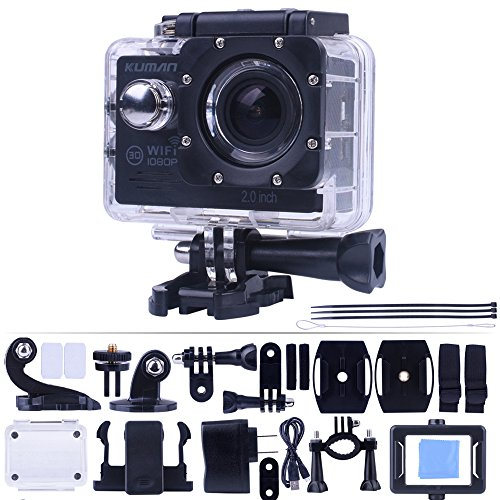 "wifi kamera Kuman MH21D 4K WIFI Action Cam Sport Camera 1080p 60fps 12MP 2.0"" LCD 1080P 170 Degree Wide Angle Waterproof Cam DV Camcorder Outdoor for Bicycle Motorcycle Diving Swimming with Free Accessories Kit"
