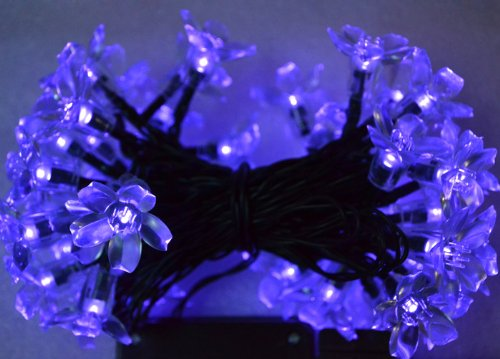 Samyo Waterproof Purple Blossom Solar Fairy String Lights For Outdoor Gardens Homes Christmas Weddings Lighting Party - 5M 50 Led