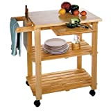 Kitchen Cart With Cutting Board, Knife Block And Shelves By Winsome Wood