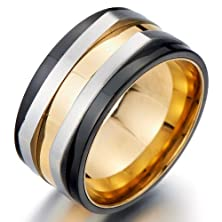 buy Refined Style Stainless Steel Mens Promise Ring Wedding Band Ring Gold Silver Black Tri-Tone Comfort Fit 11Mm(8A)