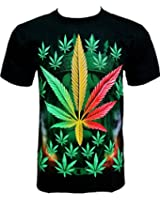 Rock Chang T-Shirt Weed Chanvre Herbe Noir R 706