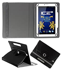 ACM ROTATING 360° LEATHER FLIP CASE FOR ICE ADVANTEDGE TABLET STAND COVER HOLDER BLACK