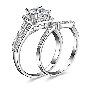 Jewelrypalace Women's 1.3ct Princess Cut Cubic Zirconia Anniversary Bridal Wedding Band Engagement Ring Sets 925 Sterling Silver Size 5