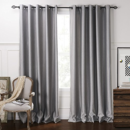 Lightinthebox (One Panel) Modern Minimalist Grey Solid Embossed Blackout Curtain front-794143