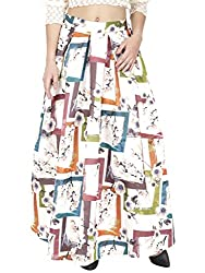 SVT ADA COLLECTIONS WHITE COLOR SATIN PRINTED LONG SKIRT (044406D_White_FS)
