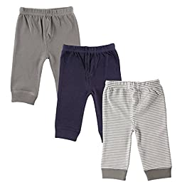 Luvable Friends 3-Pack Tapered Ankle Pants, Grey, 6-9 Months