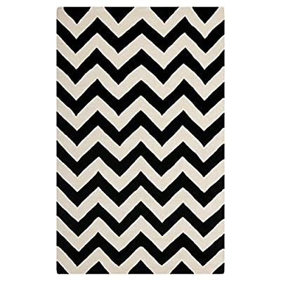 Safavieh Chatham Collection CHT715A Handmade Ivory and Black Wool Area Rug