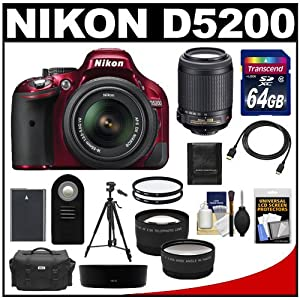 Nikon D5200 Digital SLR Camera & 18-55mm G VR DX AF-S Zoom Lens (Red) with 55-200mm VR Lens + 64GB Card + Battery + Case + Tripod + Tele/Wide Lenses + Remote + Accessory Kit