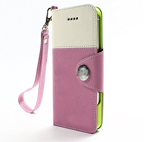 Mylife (Tm) Lavender Pink And White - Modern Design - Textured Koskin Faux Leather (Card And Id Holder + Magnetic Detachable Closing) Slim Wallet For Iphone 5/5S (5G) 5Th Generation Itouch Smartphone By Apple (External Rugged Synthetic Leather With Magnet