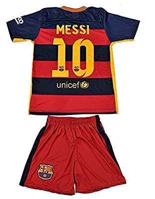2015/2016 Barcelona Home Leo Messi Home Youth Sizes Soccer Kids Jersey Shorts