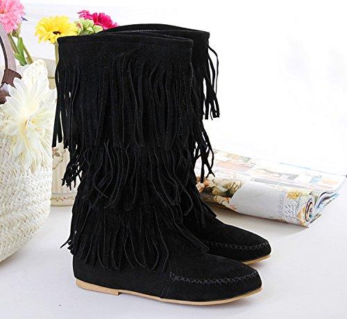 Donna nappa ecopelle scamosciata Mocassino stivali con frange , black , 39