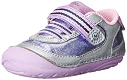 Stride Rite SM Jazzy Sneaker (Infant/Toddler), Silver/Purple, 3 W US Infant