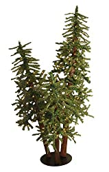 5' Pre-Lit Natural Alpine Artificial Christmas Tree Trio Set - Clear Lights