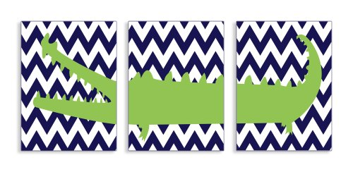 The Kids Room by Stupell Alligator on Navy Chevron 3-Pc Rectangle Wall Plaque Set - 1