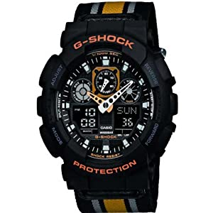 Casio GA-100MC-1A4ER Mens G-Shock World Time Cloth Strap Combi Watch