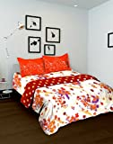 Tomatillo Floral 4 Piece Cotton Double Bedding Set - White and Orange