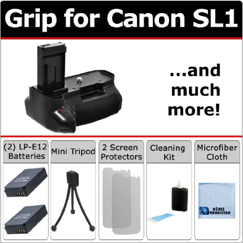 Professional Multi-Purpose Battery Grip for Canon SL1 Camera + 2 LP-E12 Long Life Batteries + Complete Deluxe Starter Kit by eCost.