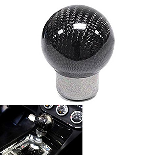 HaoWorld Universal Carbon Fiber Car Gear Shift Knob Shifter Lever Round Ball Shape (Black)