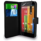 Motorola Moto G Dual Sim 5 inch (2nd genration-2014) - Leather Wallet Flip Case Cover Pouch + Mini Touch Stylus Pen + Screen Protector & Polishing Cloth ( Black )