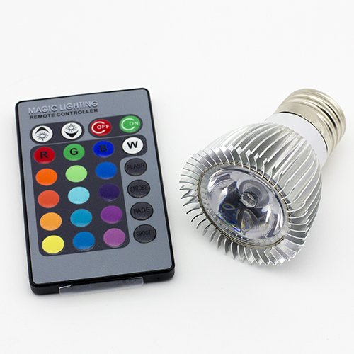 eBestrade 3W E27 RGB LED Light Bulb with Remote Control 16 Changeable Colors Multi-Color Energy Saving RGB LED Lamp