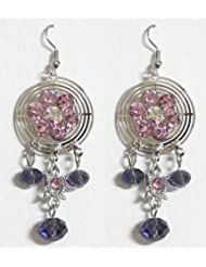 DollsofIndia Stone Setting Metal Earrings - Stone, Bead And Metal - Magenta