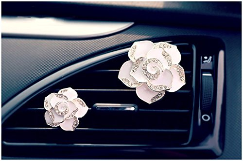 automobile Outlet perfume clip Diamond Air conditioner mouth clamp Upscale cute Car perfume fragrance vent clip (White)