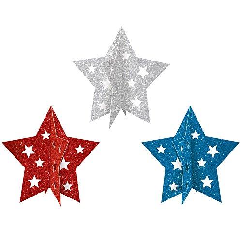 "Amscan Mini Patriotic 3-D 4th of July Party Table Centerpieces Decoration (3 Piece), Multi Color, 7 x 5.5"""