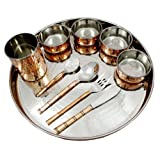 Copper Stainless Steel Large Dinner Plate Thali Dinnerware For Indian Food, Service For 1 Person, Diameter 30...