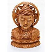 TimberTaste Kadam Wood 8 Inches Wooden Buddha Head Statue Idol Half Body