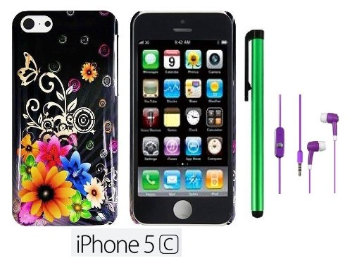 Apple Iphone 5C (For The Colorful ; 2013 Fall Released) Premium Pretty Design Protector Hard Cover Case + 3.5Mm Stereo Earphones + 1 Of New Metal Stylus Touch Screen Pen (Yellow Pink Chromatic Flower Black Silver Butterfly)