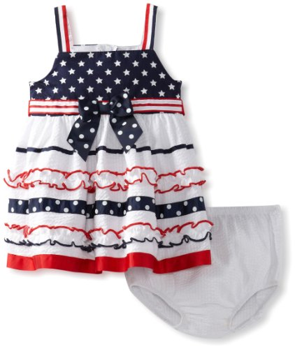 Bonnie Baby Girls Infant Stars And Ribbon Stripe Sundress, White, 12 Months front-1010126